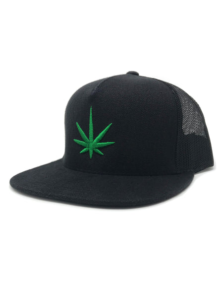 HEMPZOO GREEN LEAF TRUCKER CAP - HEMPZOO Sustainable organic hemp cannabis clothing hats accessories