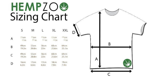 HEMPZOO Hemp Zoo organic hemp clothing in california Hemp T-shirt Natural Bone Black Organic Eco-Friendly Sustainable Cannabis fashion Hemp shirt Organic cotton Tee earth friendly ink printing street wear Size Chart