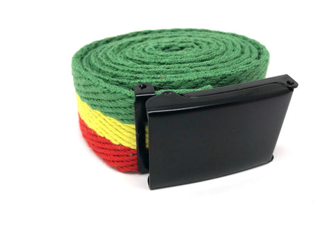 HEMPZOO Rasta hemp webbing belt with Black buckle