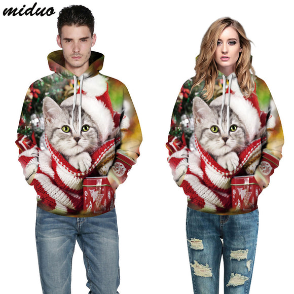 Unisex Realistic 3d Digital Print Pullover Hoodie Hooded Sweatshirt Christmas Big cat