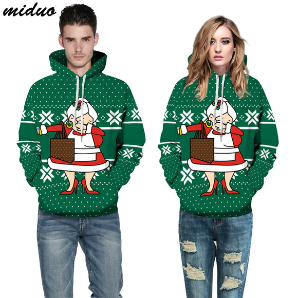 Unisex Realistic 3d Digital Print Pullover Hoodie Hooded Sweatshirt Santa grandmother