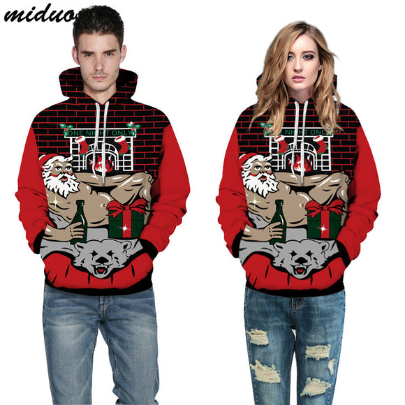 Unisex Realistic 3d Digital Print Pullover Hoodie Hooded Sweatshirt Christmas Muscular Man
