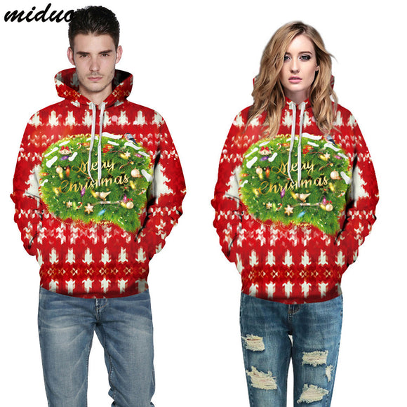 Unisex Realistic 3d Digital Print Pullover Hoodie Hooded Sweatshirt Christmas Tree