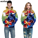 Unisex Realistic 3d Digital Print Pullover Hoodie Hooded Sweatshirt Christmas unicorn