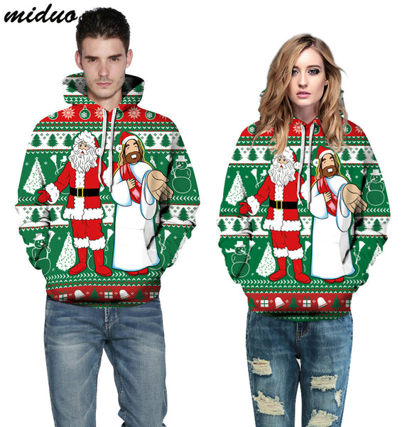 Unisex Realistic 3d Digital Print Pullover Hoodie Hooded Sweatshirt Santa Claus With Jesus