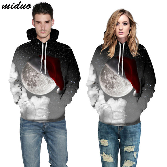 Unisex Realistic 3d Digital Print Pullover Hoodie Hooded Sweatshirt Starry Christmas hat 002