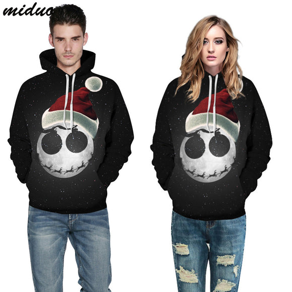 Unisex Realistic 3d Digital Print Pullover Hoodie Hooded Sweatshirt Starry Christmas Hat