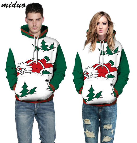Unisex Realistic 3d Digital Print Pullover Hoodie Hooded Sweatshirt Cartoon Santa Claus