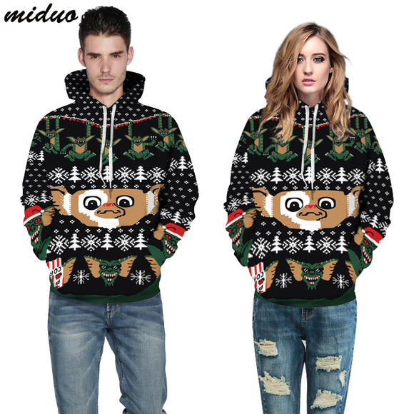 Unisex Realistic 3d Digital Print Pullover Hoodie Hooded Sweatshirt Christmas Animals