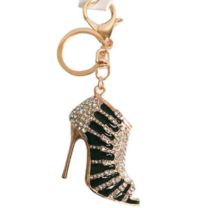 Charm Crystal Shoe High Heel Keyring Purse Pendant Bag Key Chain Black