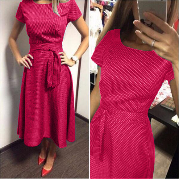 2017 Hot Sale Casual A-Line Dot Women Popular Dress Short Sleeve O-Neck Knee-Length Dress Summer Style Sashes Clothes Plus size