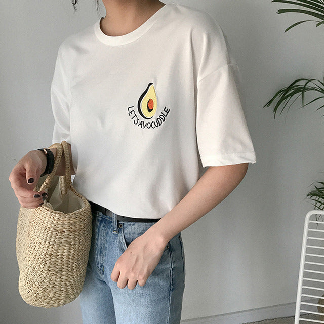 ab6970352a5 ... 2018 New Style Summer Cute Avocado Embroidery Short Sleeve T-shirt  Womens Small Fresh Casual