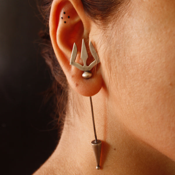 Silver Trishul Earrings - Quirksmith