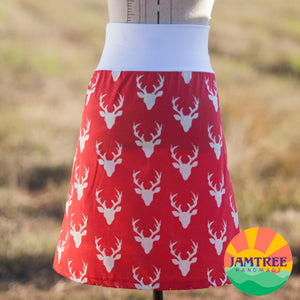 Stag Head Red Skirt 10 18