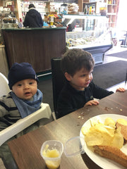 Nephew and Son in Fenny stratford Gino's Cafe