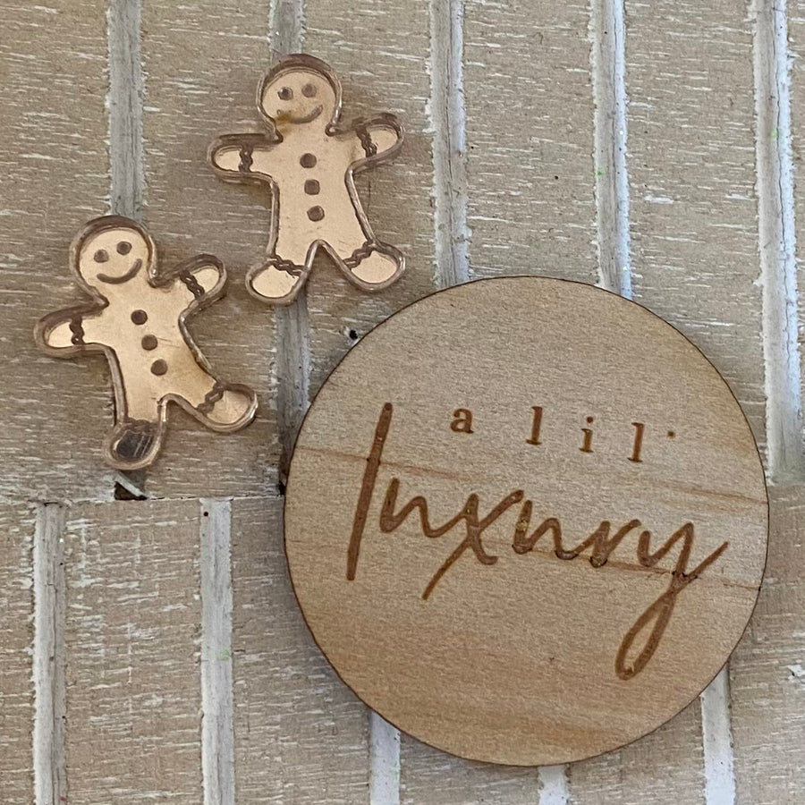 Rose Gold Gingerbread Man Studs