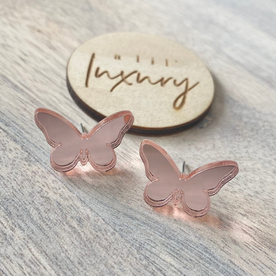 Butterfly- Baby Pink Mirror Stud