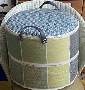 LINEN SWATCH pouffe in  Blues & greens