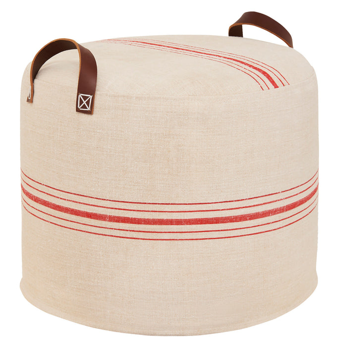 Vintage French Linen with Red Stripe Pouffe