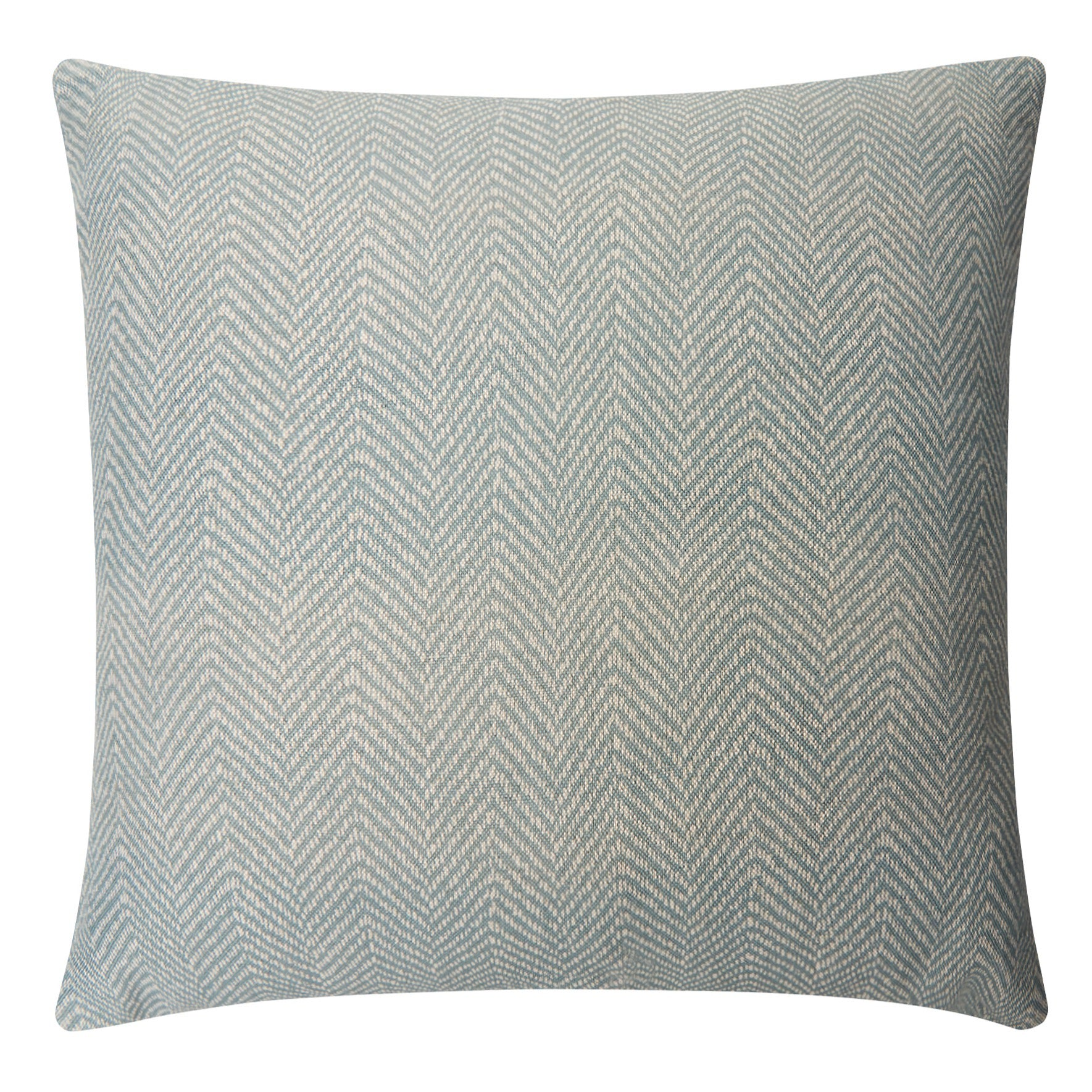 SEA GREY 45cm Herringbone Printed Linen Cushion