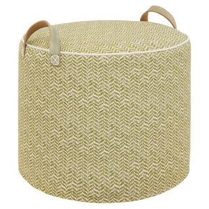 Dk.Olive Printed Linen Pouffe