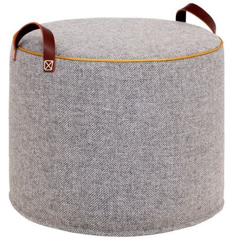 GREY GOLD Herringbone Wool Tuffet