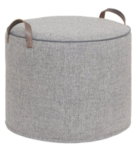 Grey herringbone pouffe