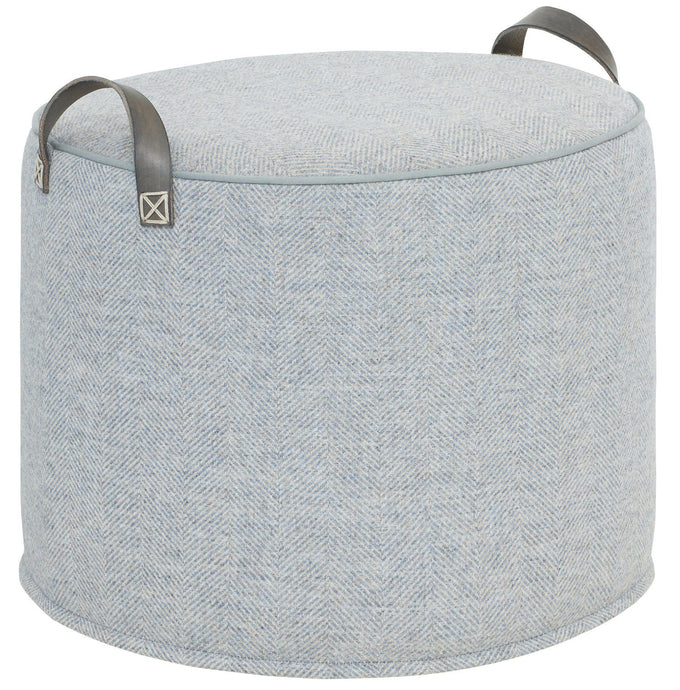 PALE BLUE Herringbone Wool Tuffet