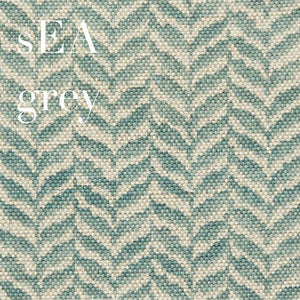 Sea Grey Lg.Leaf Printed  Linen