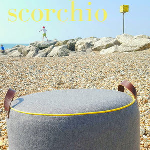 GREY Melton + Yellow  pouffe / footstool