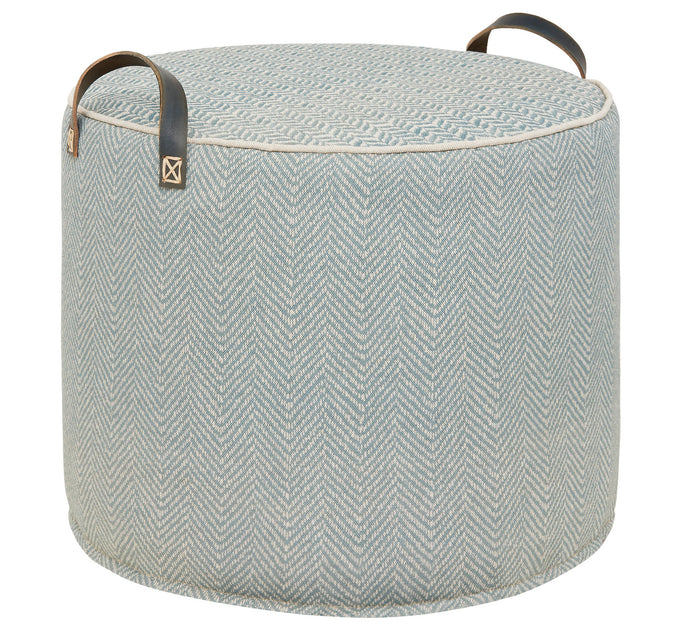 SEA GREY Printed Linen Tuffet