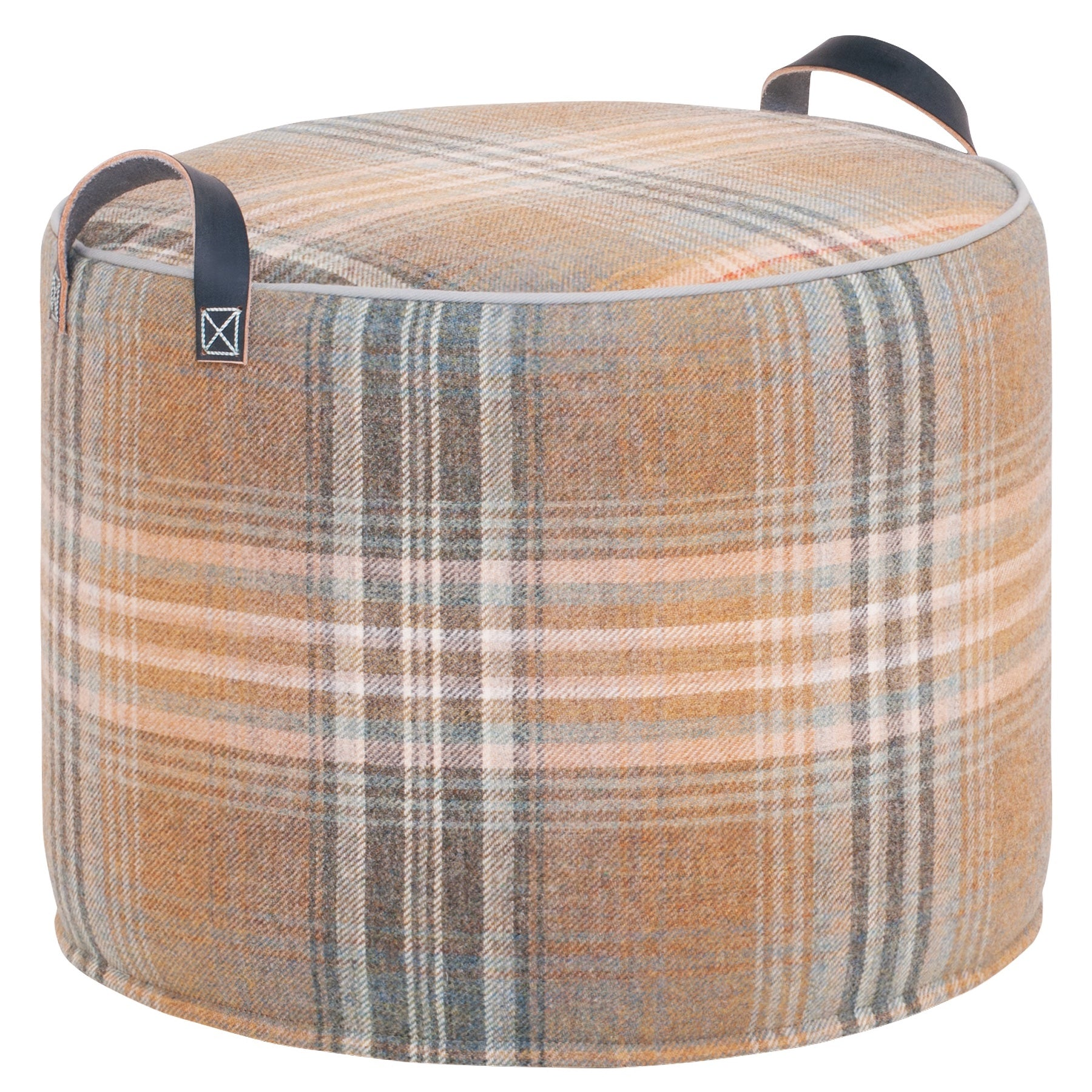 GREY & SAND Checked Wool Tuffet