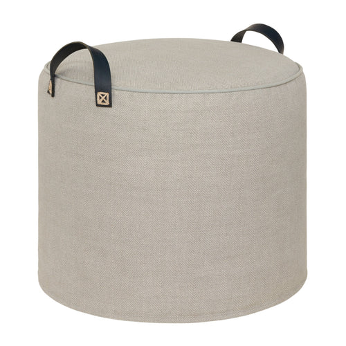 CLOUD LINEN POUFFE DARK BLUE LEATHER  HANDLES
