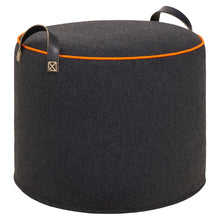 CHARCOAL ORANGE Wool Tuffet