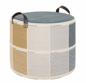 Tuffet linen swatch pouffe footstool sustainable wool feet up seat side table