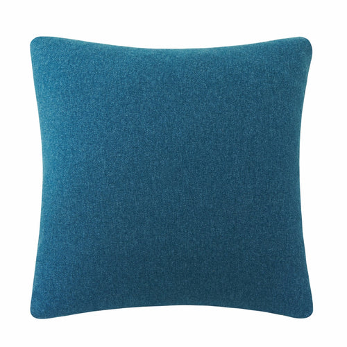 50cm cushion feather filled teal wool -look brushed