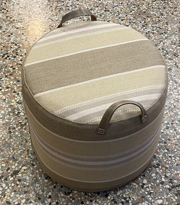 Linen in Taupe, grey and ivory stripe