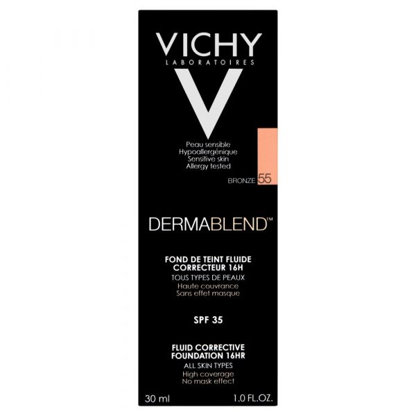 Vichy Dermablend Fluid Corrective Foundation 16hrs Bronze 55 The French Pharmacy