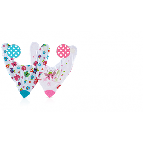 Nuby - 2pk Bandana Teething Bibs - Butterflies/Flowers Reversible (3m)