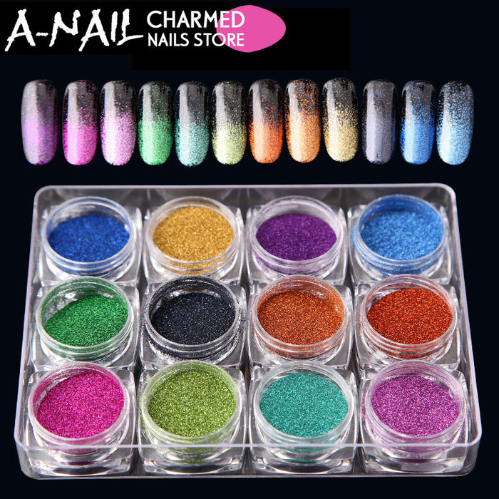 12boxes/set Hot Sale 12 Colors Holographic Glitter Laser Powder Nail ...