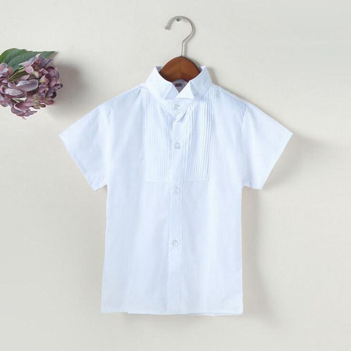 60abcef5f29d 2-12 Years 2017 New Summer Short Sleeve Cotton Baby Toddler Clothes White  School Boys