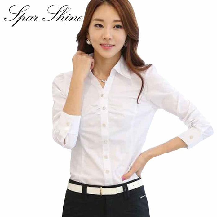 7f9af25b15e 2016 New Office Shirts Women Work Blouses White Elegant Ladies Chiffon Blouse  Long Sleeve Tops Chemise