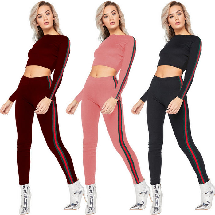 2017 Autumn Plus Size Clothing Women 2 Piece Pants Sets Knitted
