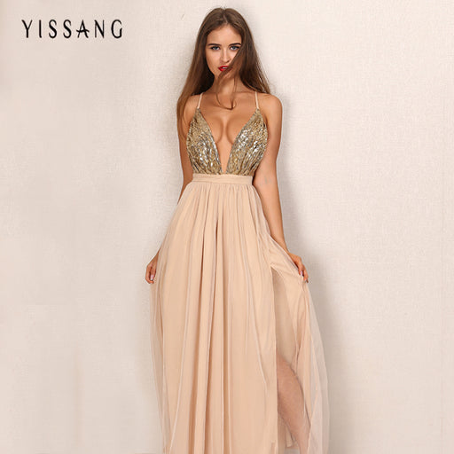 party maxi dress sling evening deep v-neck backless sequin patchwork sexy  elegant strap dresses ac460327b