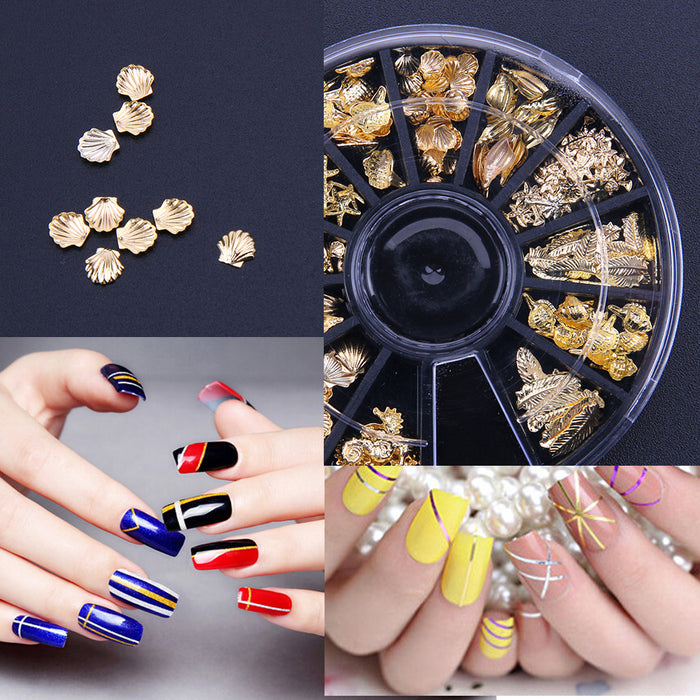 3D Silver Metal Nail Art Decoration Accessories Nail Beads Supplies ...