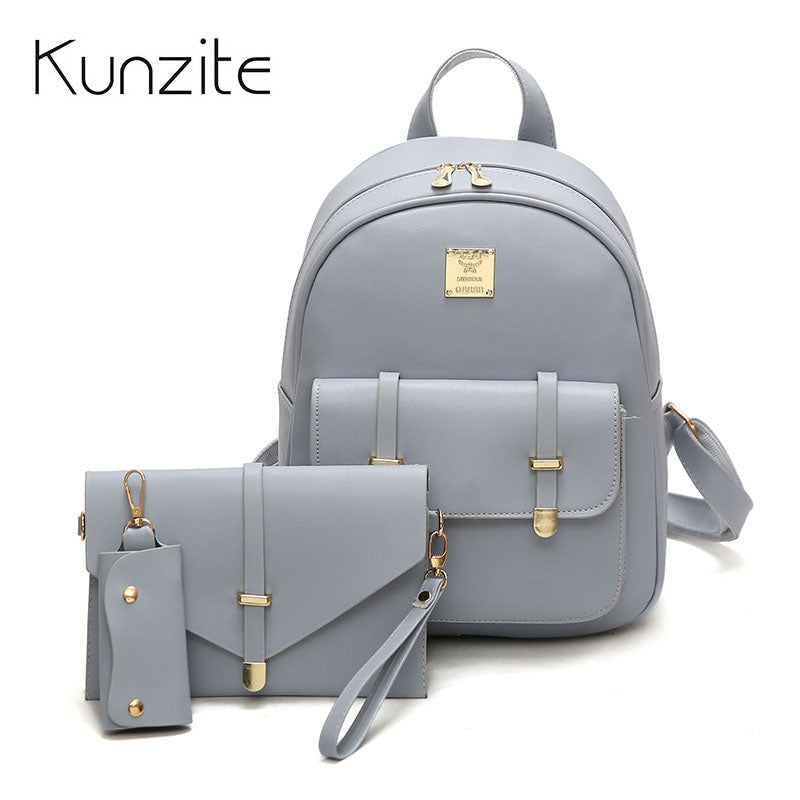 70cbe113e9 3Pcs Set Fashion Women Backpacks for Teenage Girls School Backpacks Pu —  EG-Express