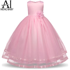 Ai Meng Baby Flower Girl Dress Kids Party Wear Children's Clothing Girl Wedding Dresses Tulle Teenagers Dance Prom Formal Gown