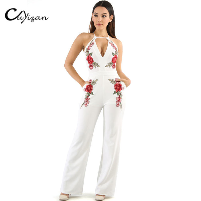 aa7190890e9c CUYIZAN 2017 Summer overalls Jumpsuit White Elegant Embroidery Jumpsuit  playsuit Women Rose Applique Sexy Cross Backless
