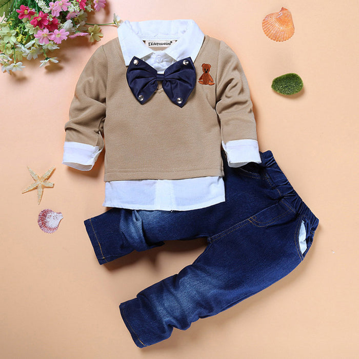 cc0f8ba0587 Children Clothing Toddler Boys Clothes Sets Summer Short Sleeve T-shirt+Jeans  For Sport