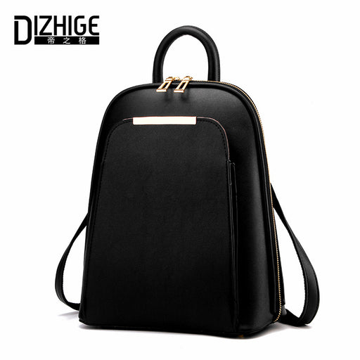 9f3f7c7668a3 DIZHIGE Brand 2017 Solid High Quality PU Leather Backpack Women Designer School  Bags For Teenagers Girls